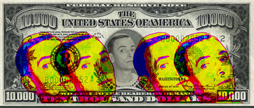 Mythologies Graphic of Richard Clay on defaced Dollar Bill